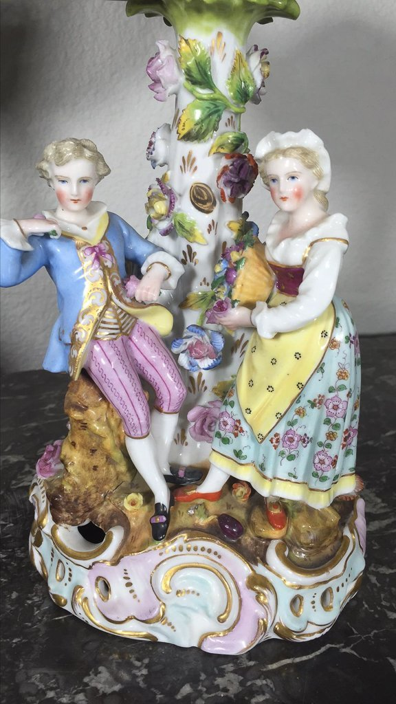 Pair Of German Dresden Figural Compotes - 3