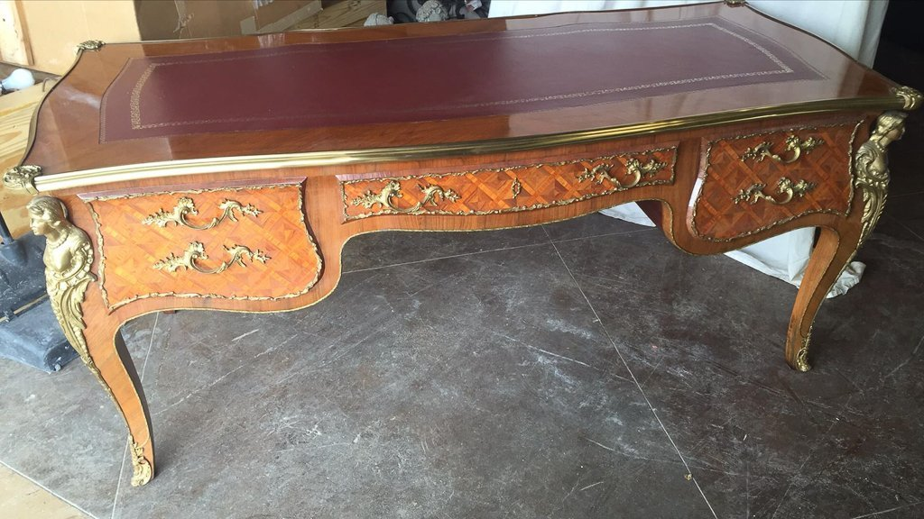 French Style Parquetry Bureau Plat, Ormolu - 5