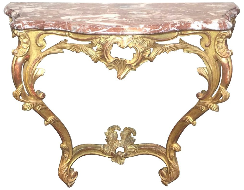 French Louis Xv Console, Marble Top In Rouge,