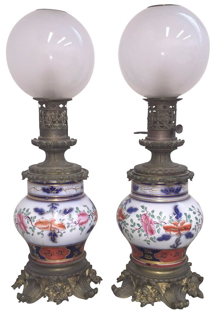Pr. English Victorian Ironstone Lamps, Set On