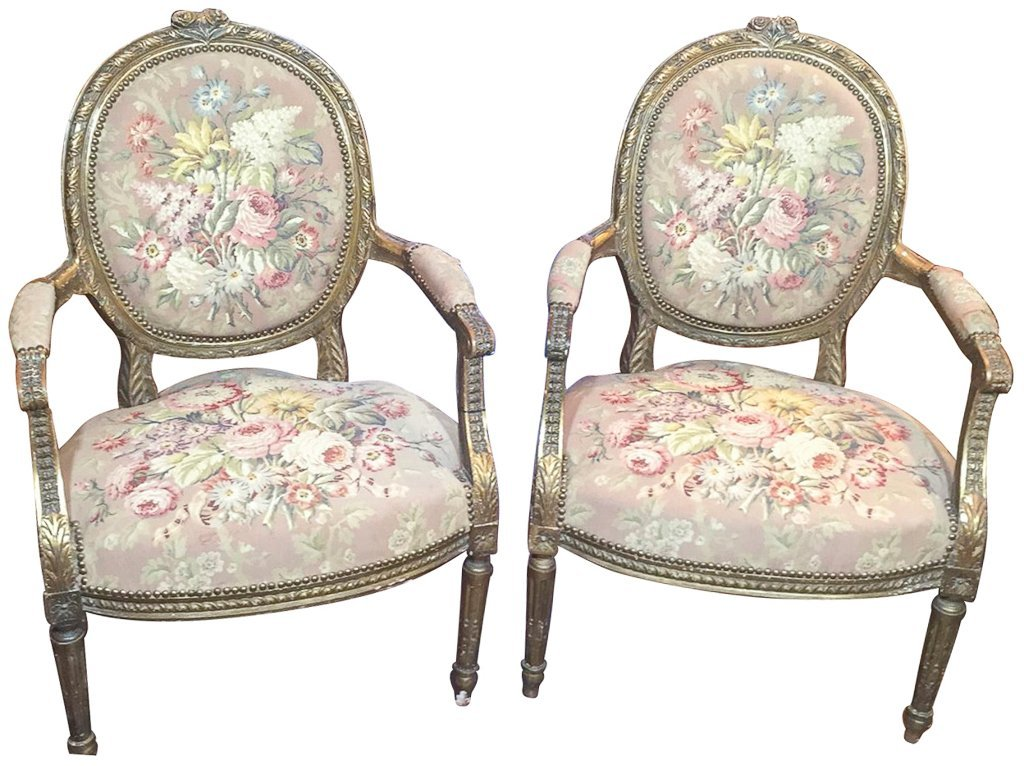 Nice Pr. French Armchairs, Aubusson Style