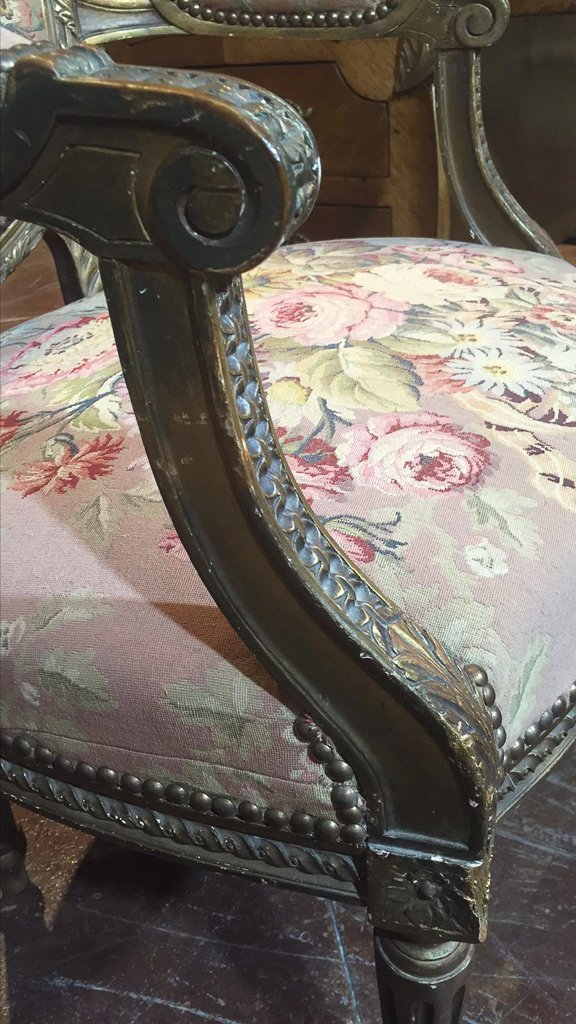 Nice Pr. French Armchairs, Aubusson Style - 2