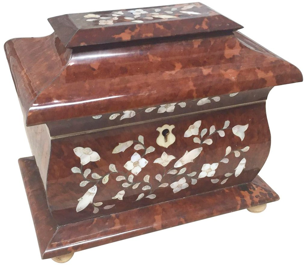 Rare English Tortoise Tea Caddy, With Mother