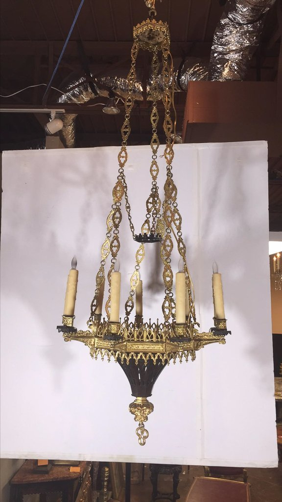 Fine French Bronze Chandelier, Gothic Design - 2