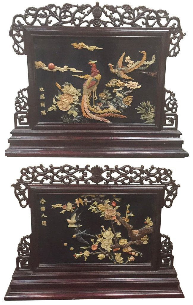 Great Pair Of Oriental Hard Stone Panels