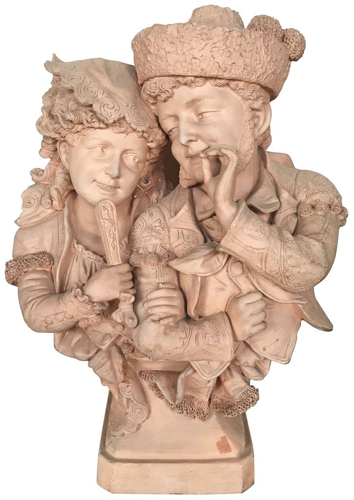 Antique French Terra Cotta Statue, Courting