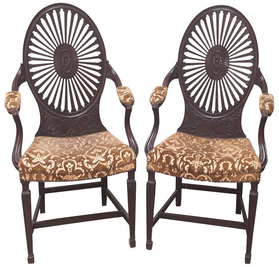 Oversize Pair Of Adamsmahogany Throne Chairs