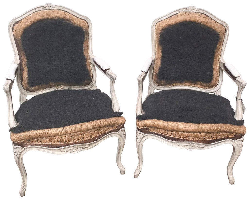 Pair Of Antique French Armchairs,louis Xv Style