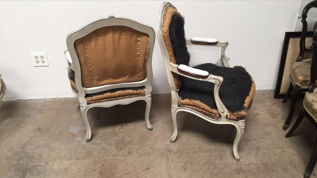 Pair Of Antique French Armchairs,louis Xv Style - 3