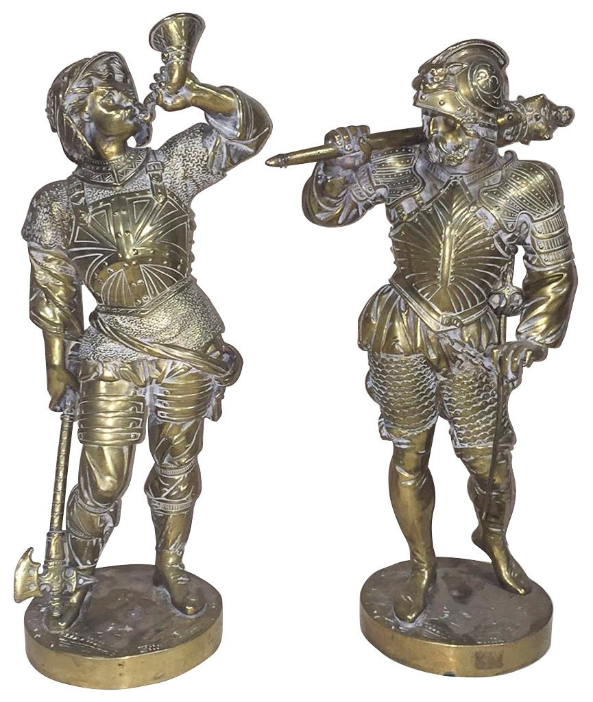Pair Of 19th-century Polished Bronze Figures