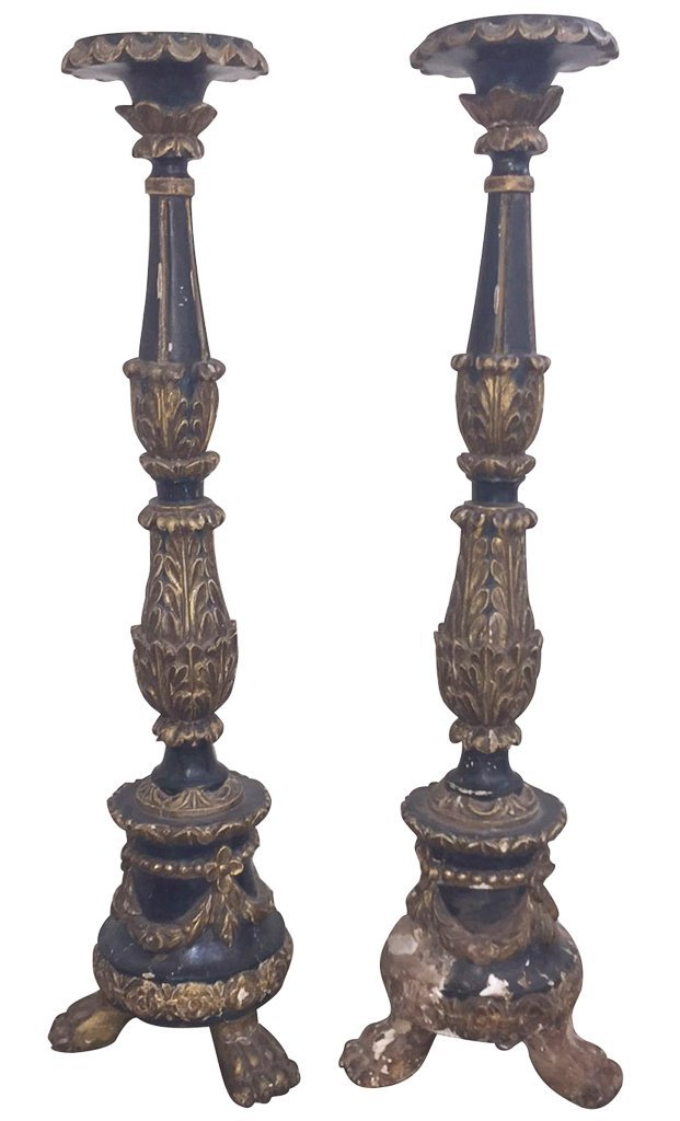 Pair Of Early 18th C. Carved Wood Altar Sticks,