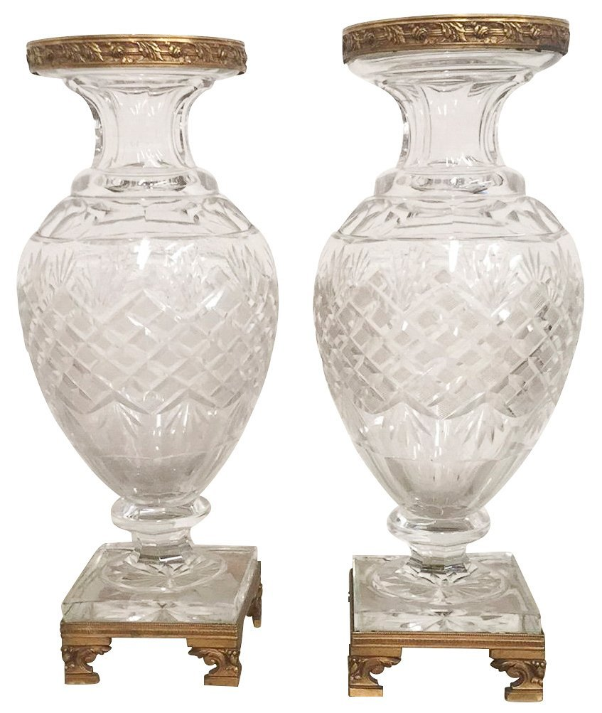 Pr. French Baccarrat Cut Crystal Vases, With