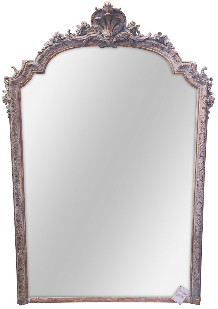 Late 19th C. French Louis Xv Over Mantel Mirror