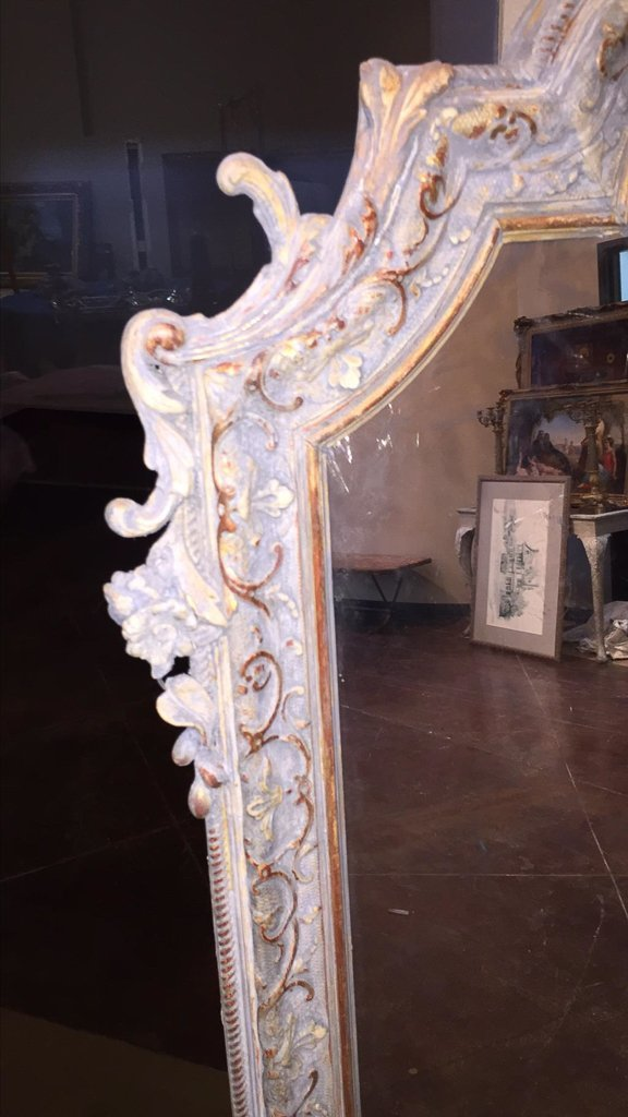 Late 19th C. French Louis Xv Over Mantel Mirror - 4