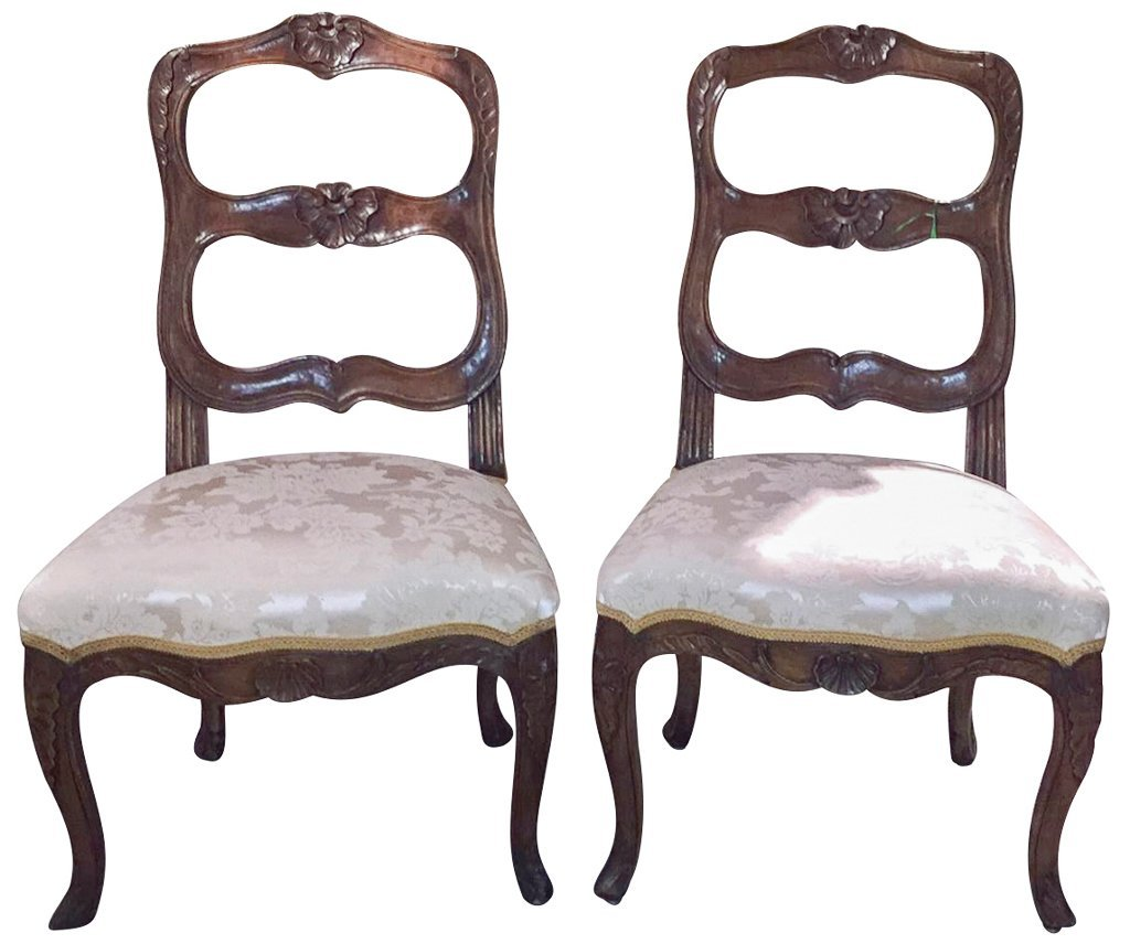 Pair Of 18th C. French Walnut Side Chairs