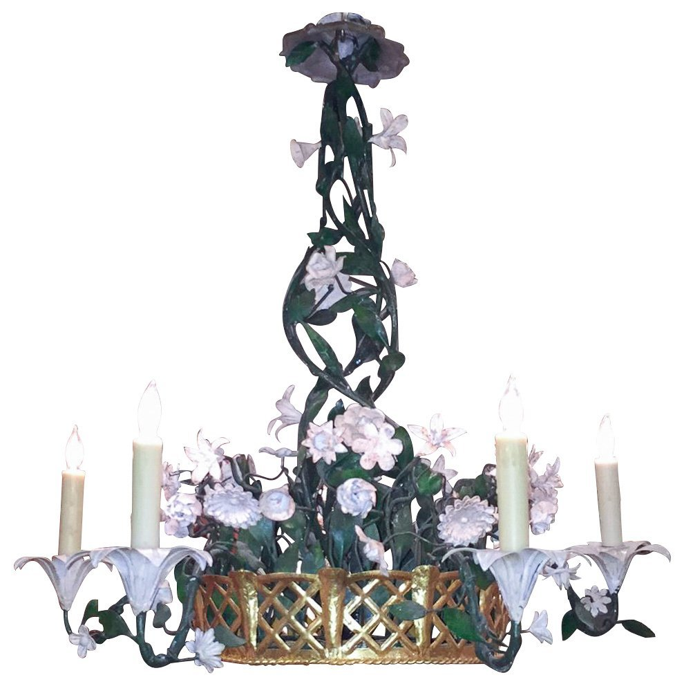 French Gilt & Painted Tole Flower Chandelier