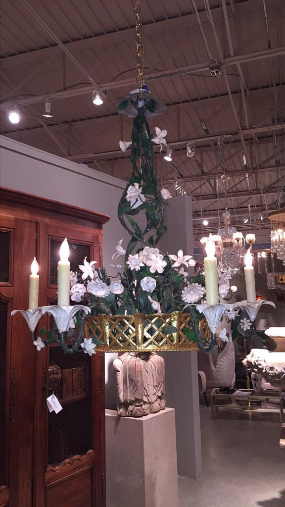 French Gilt & Painted Tole Flower Chandelier - 2