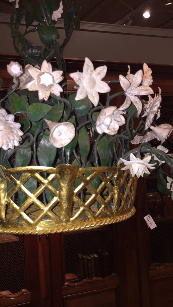 French Gilt & Painted Tole Flower Chandelier - 5