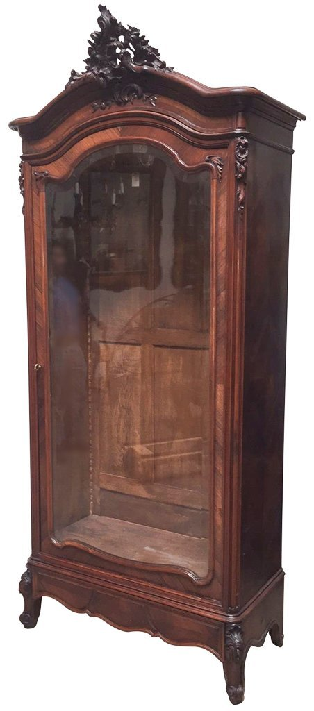 19th C French Walnut And Rosewood Carved Cabinet