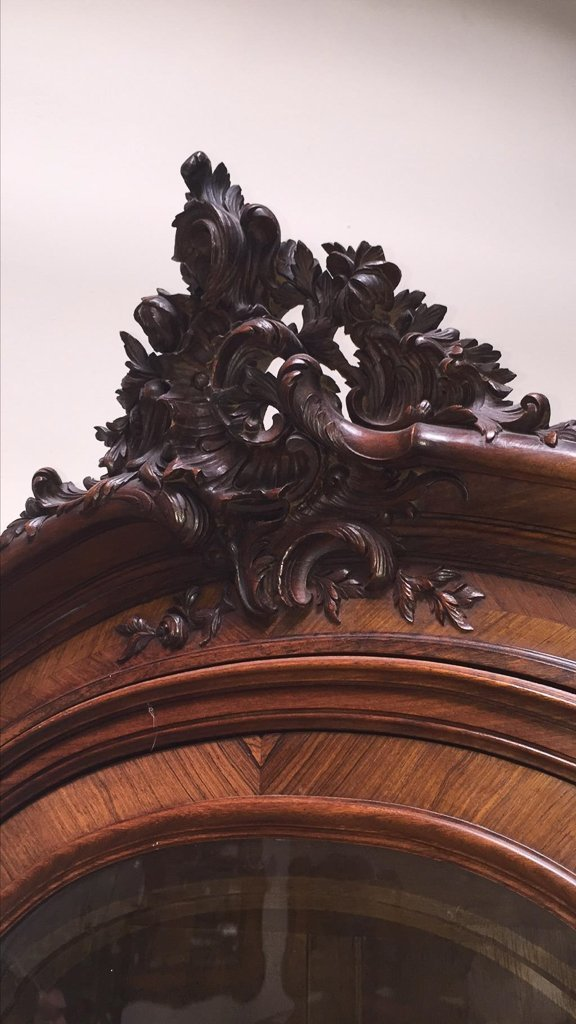 19th C French Walnut And Rosewood Carved Cabinet - 2