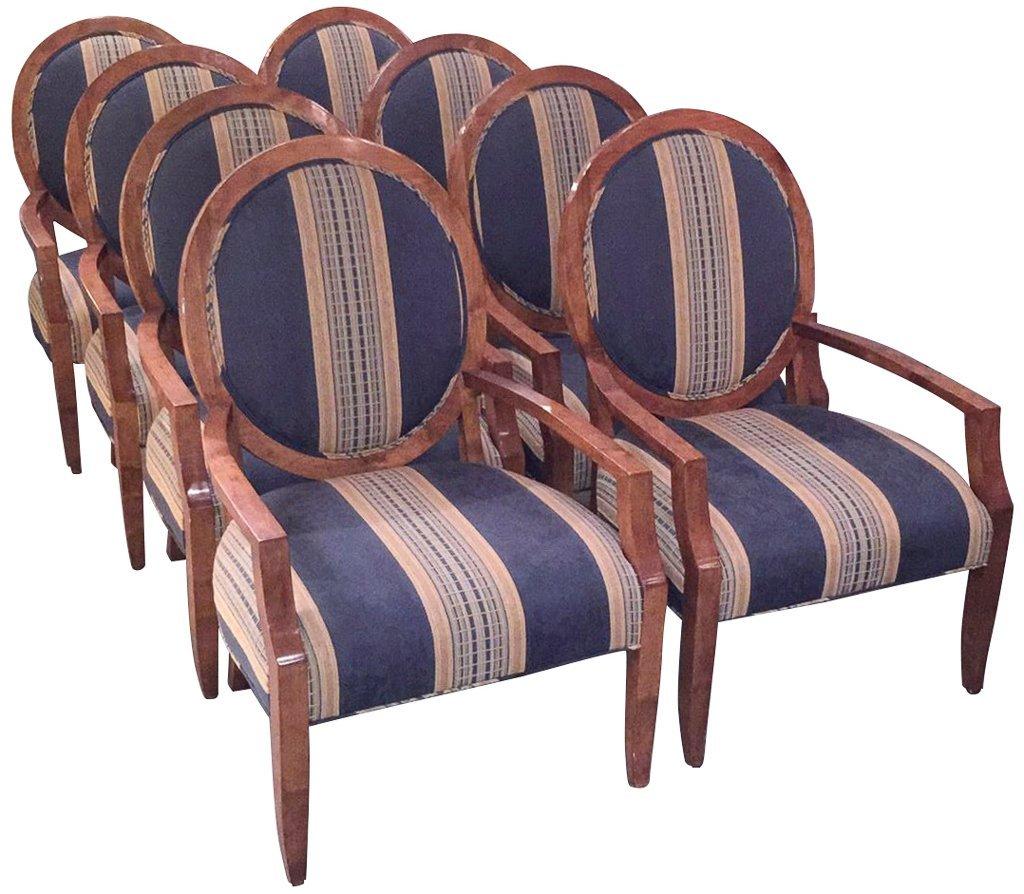 Set Of 8 Custom Art Deco Inspired Arm Chairs