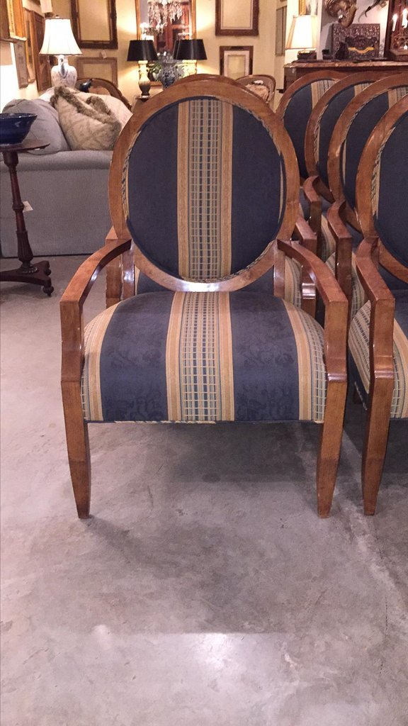 Set Of 8 Custom Art Deco Inspired Arm Chairs - 2