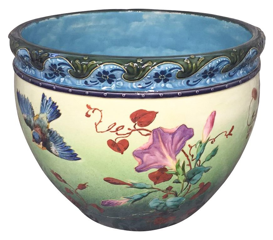 19th C French Barbotine Planter
