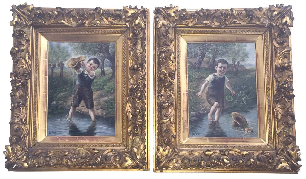John Theel, British, Whimsical Oil On Canvas,