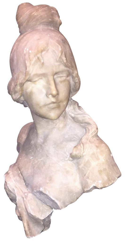 Antique French Marble Bust, Young Girl, 16 H X