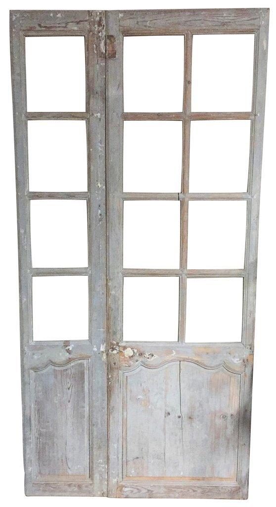 19th-century Antique French Pine Paneled Door