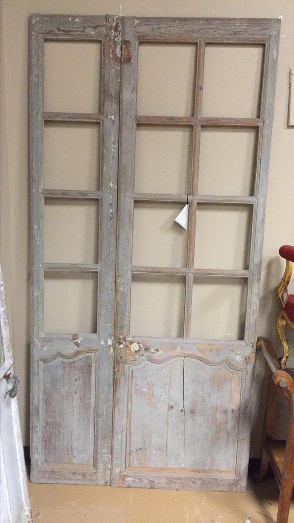 19th-century Antique French Pine Paneled Door - 2