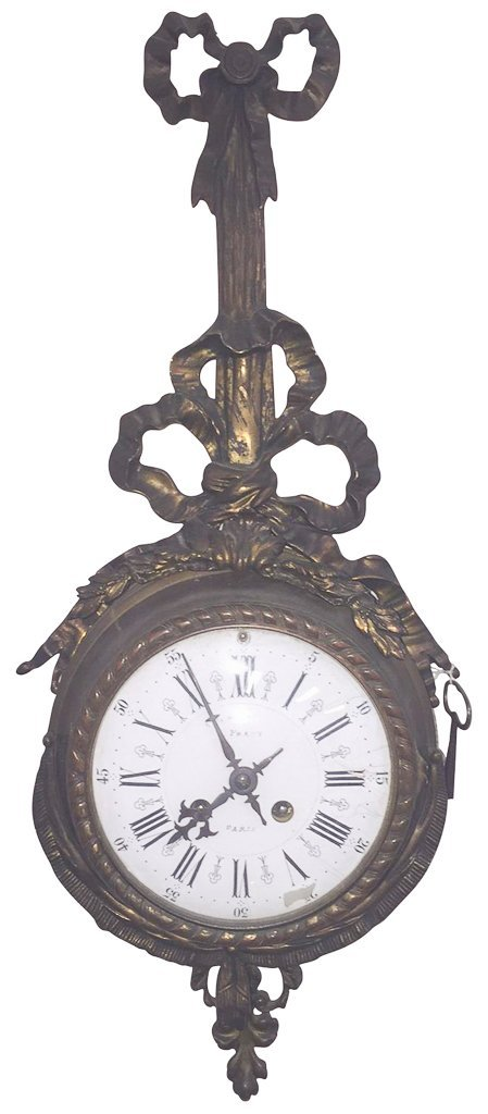 19th C. French Patinated Metal Cartel Clock