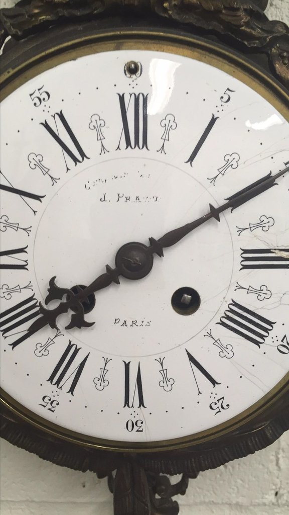 19th C. French Patinated Metal Cartel Clock - 3