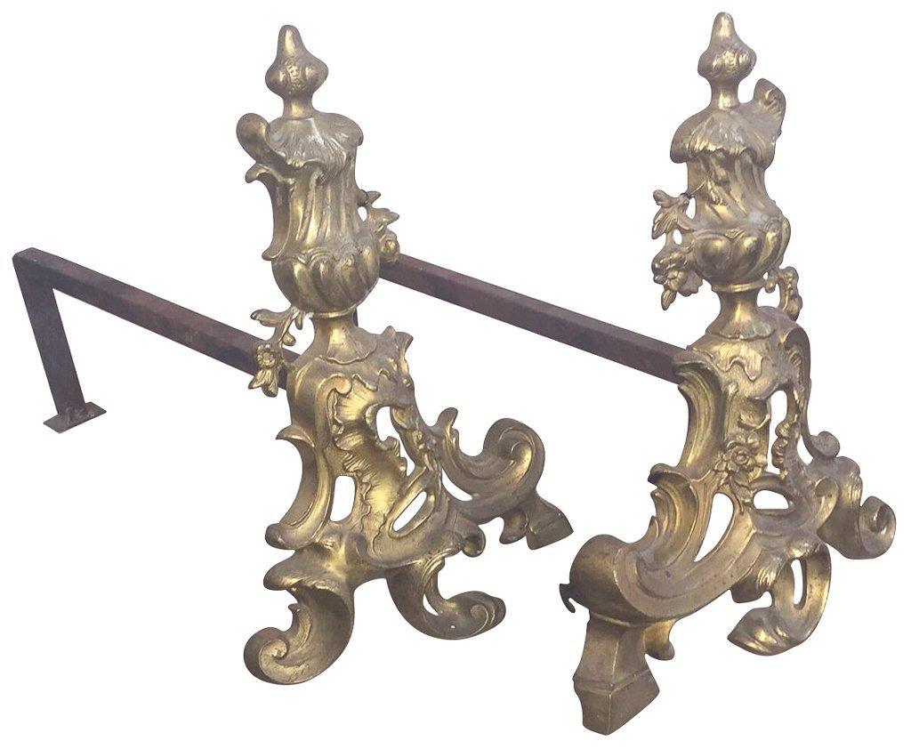 Pair Of 19th Century French Bronze Andirons,