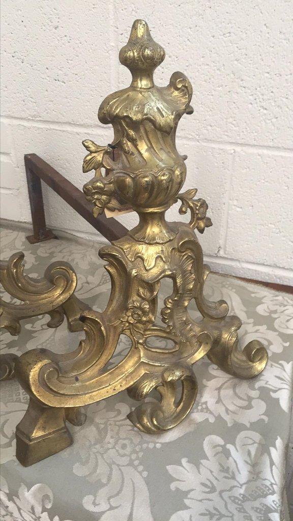 Pair Of 19th Century French Bronze Andirons, - 2