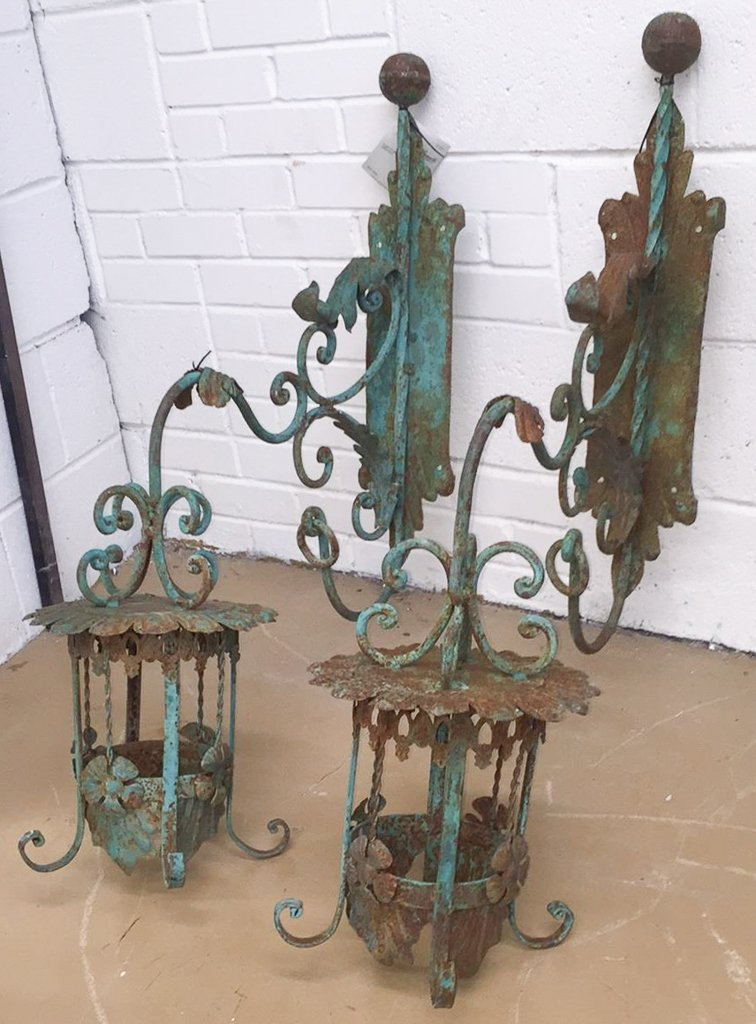 Pair Of 19th C. French Iron Wall Lanterns
