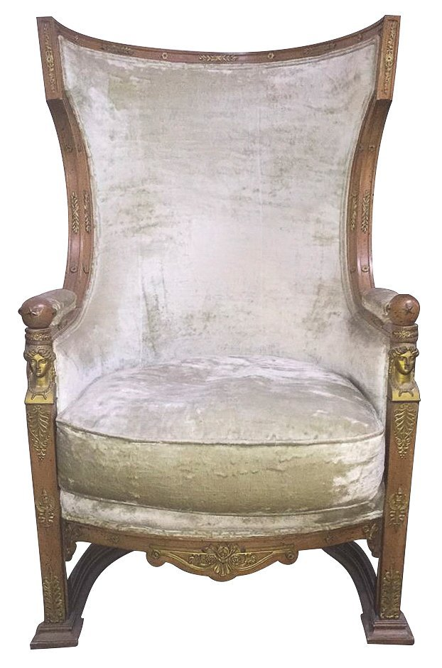 19th C. French Empire High Back Arm Chair