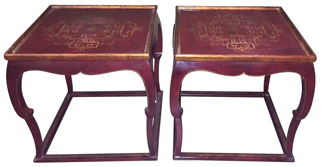 Pair Of French Chinoiserie Lacquer Side Tables