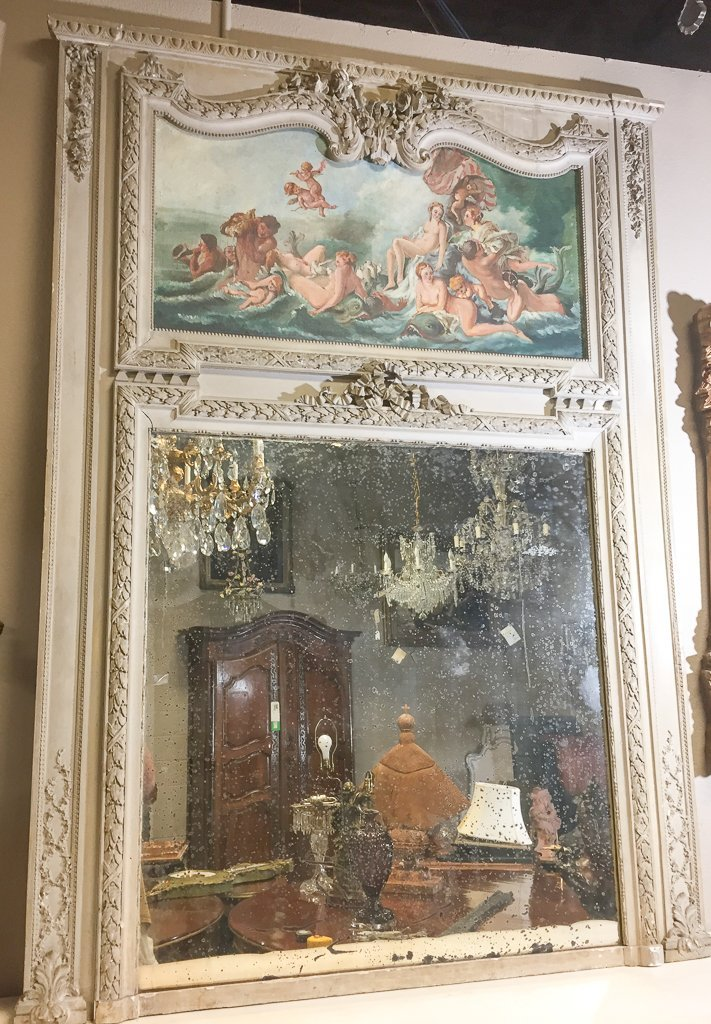 19th-century French Painted Trumeau Mirror