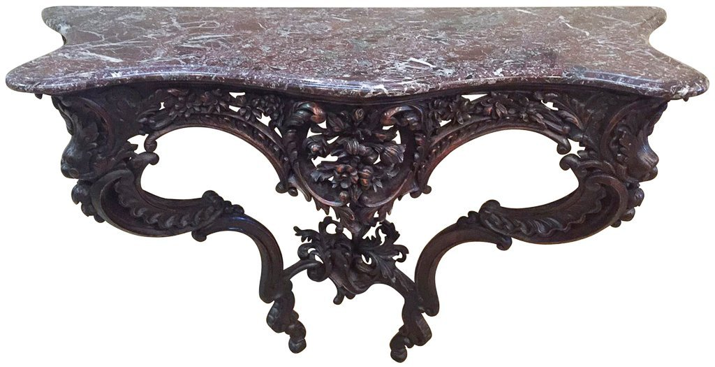French Victorian Carved Walnut Console