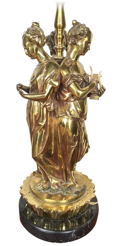 Polished French Bronze 3 Graces, As Lamp