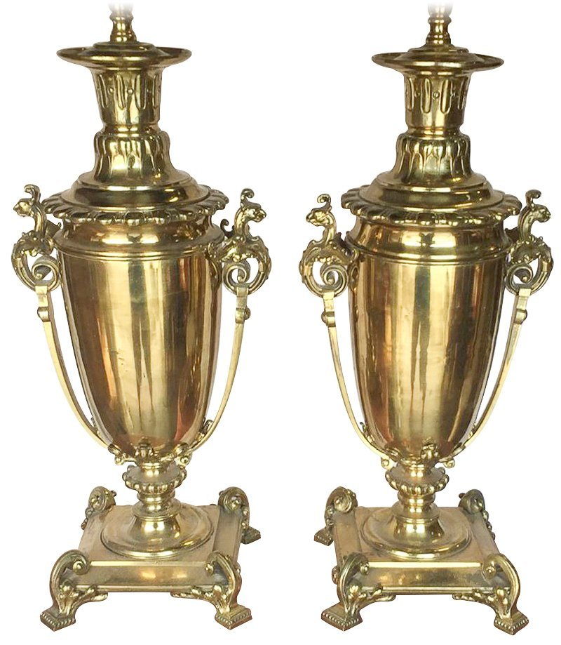 Pair Of Continental Brass Urn Shaped Lamps