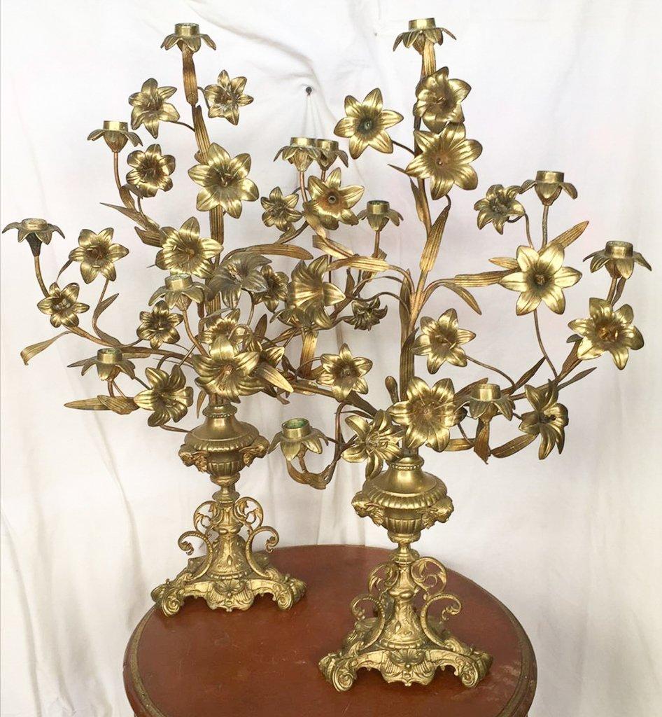 Pr French 7-light Altar Candelabra, C1890