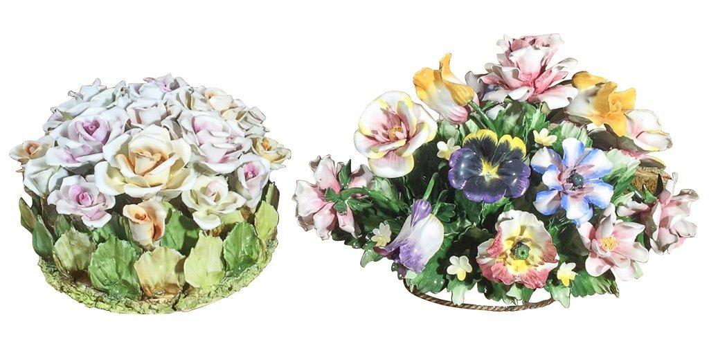 2 Hand-painted Glazed Porcelain Floral Ctrpcs.