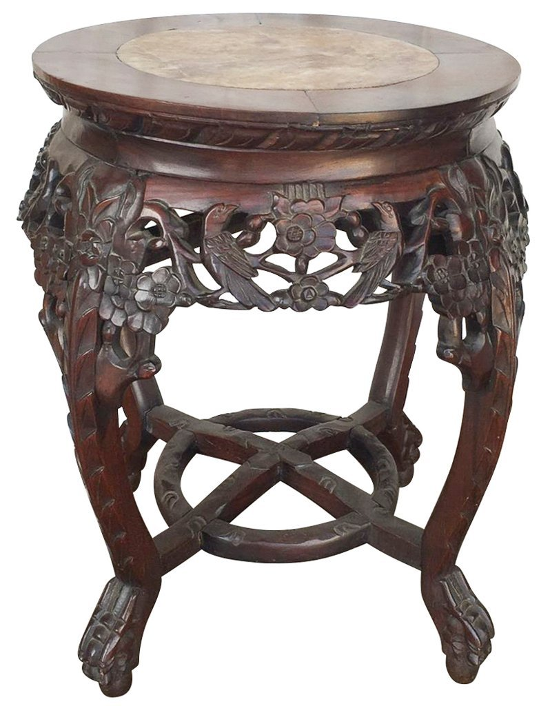 Oriental Carved Rosewood Plant Stand