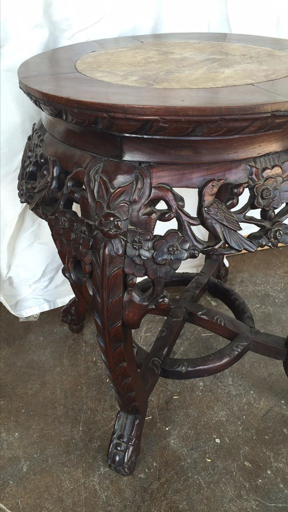 Oriental Carved Rosewood Plant Stand - 2