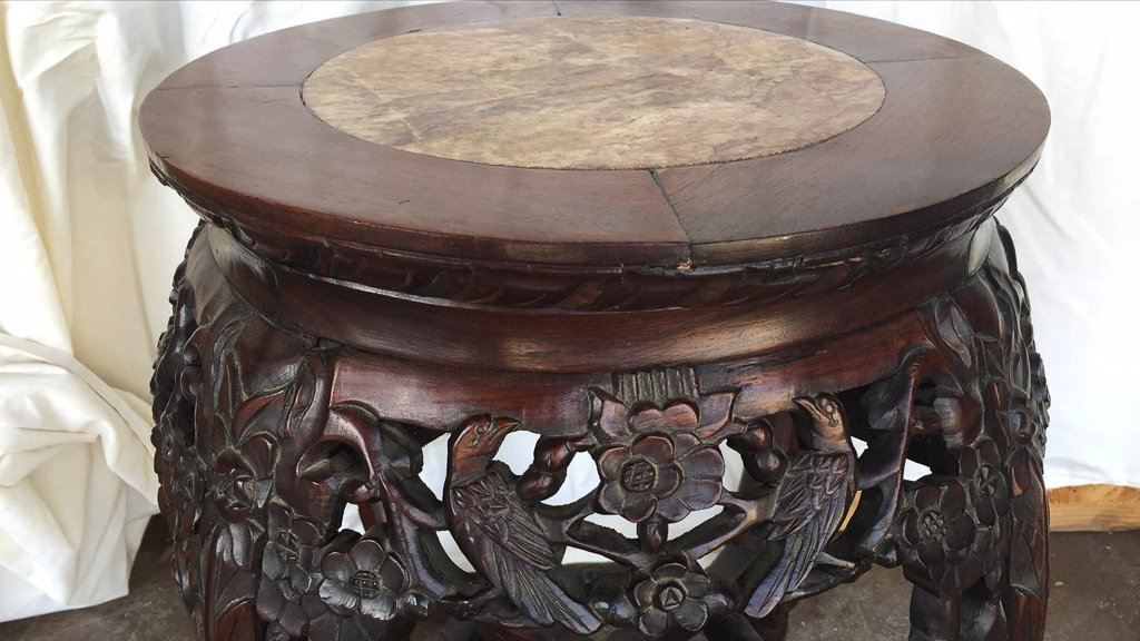 Oriental Carved Rosewood Plant Stand - 3