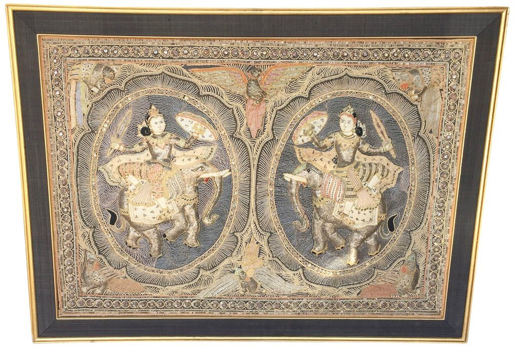Large Oriental/indian Relief Framed Needwork