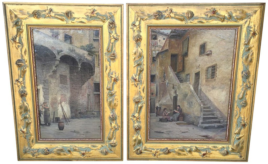 Nice Pair Of Spanish Oil Paintings, Painted On