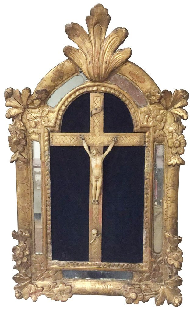 18th Century French Framed Crucifix, With